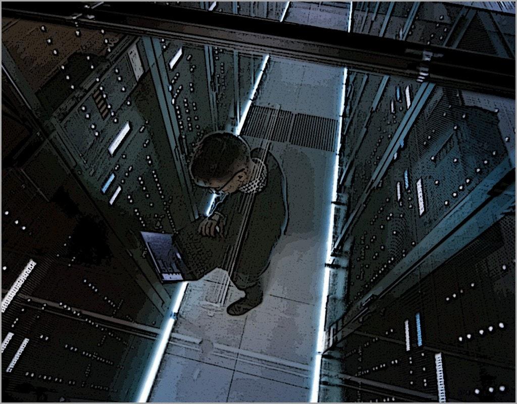 Technician in a Server Farm