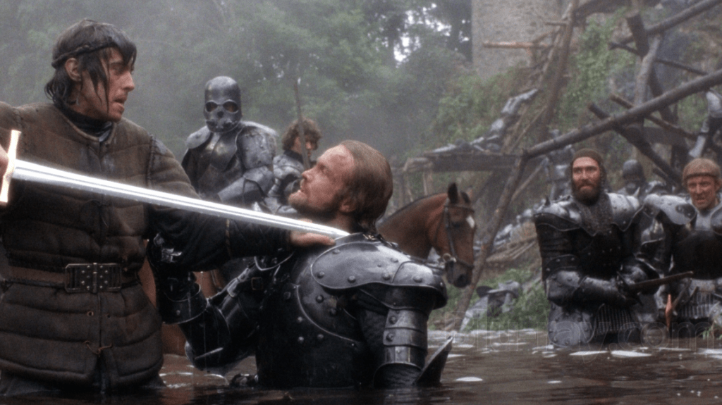 Arthur fights to unify his kingdom, in the second act of John Boorman's Excalibur (1981)